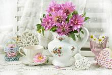 Bunch Of Pink Dahlia In Porcel...