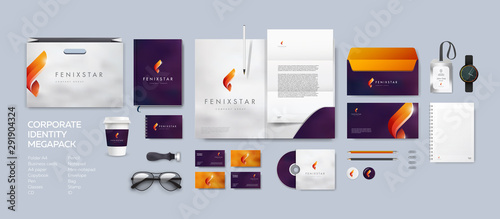Fototapeta Corporate identity premium branding design. Stationery mockup vector megapack set. Template for business or finance company. Folder and A4 letter, visiting card and envelope based on fire fenix logo. obraz