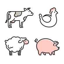 Farm Animals Vector Icon. Shee...