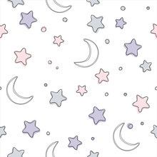 Seamless Pattern With Stars And Moon. Background For Gift Wrapping Paper, Fabric, Clothes, Textile, Surface Textures, Scrapbook.