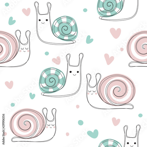 Fotografie, Obraz Cute snail seamless pattern