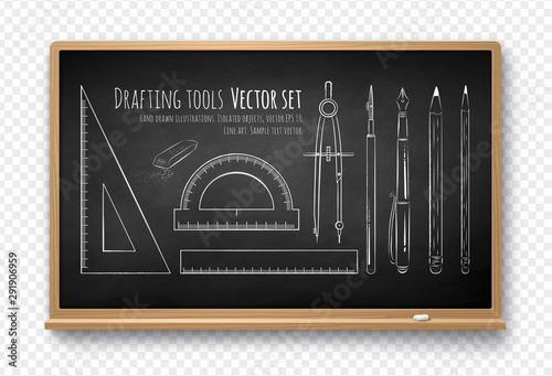 Cuadros en Lienzo  Vector illustration of drafting tools