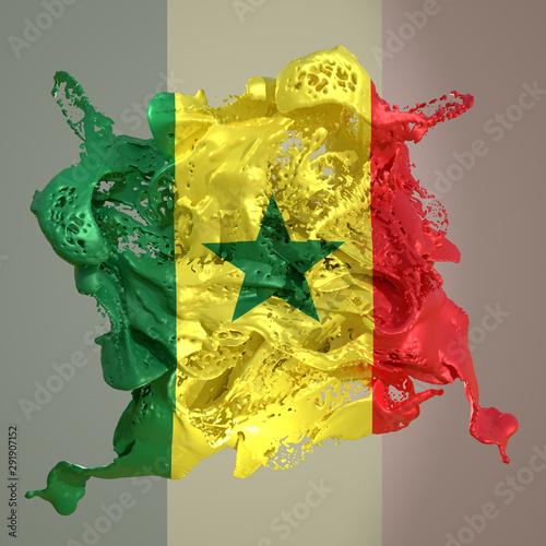 Photo sur Aluminium Graffiti collage Senegal flag liquid