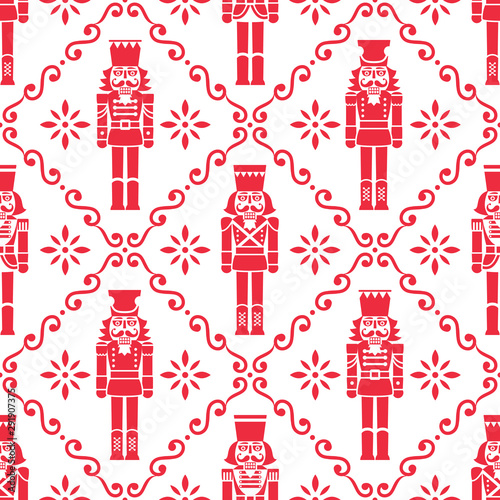 Tapety do pokoju dziewczynki  christmas-nutcrackers-vector-seamless-pattern-xmas-soldier-figurine-repetitive-red-and-white-ornament-textile-design