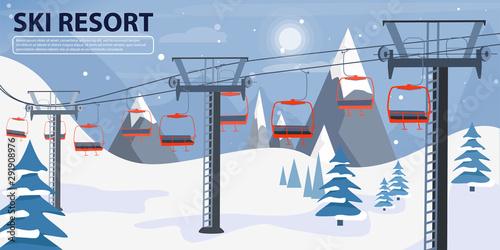 Ski resort banner illustration with ski lift Canvas Print