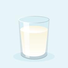 Glass Of Fresh Milk. Vector Illustration