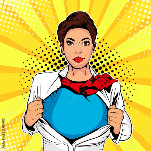 Photo  Pop art female superhero