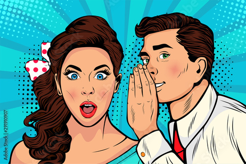 Man whispering gossip or secret to his girlfriend or wife Wallpaper Mural