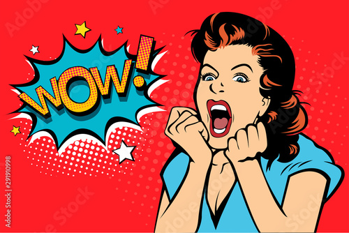 Plakaty Pop Art  sexy-surprised-blonde-pop-art-woman-with-wide-open-eyes-and-mouth-and-rising-hands-screaming-vector-background-in-comic-retro-pop-art-style-party-invitation