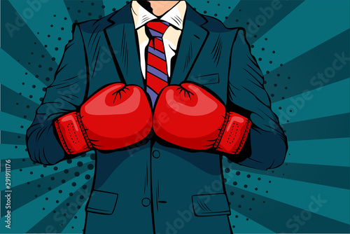 Man in boxing gloves vector illustration in comic pop art style Canvas Print