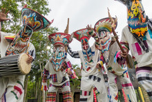 Ghost Festival Thailand.The Phi Ta Khon Annual Festival Beautiful Parade. People Dress In Spirit,wear Ghost Mask Costume Colorful, Sing And Dance At LOEI Province. Celebration, Travel And Asia Concept