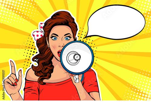 Fototapeta Girl with megaphone pop art retro vector illustration