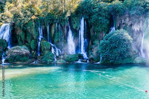 Kravice waterfall in Bosnia and Herzegovina, jets of water falling from a height of twenty-five meters © vredaktor
