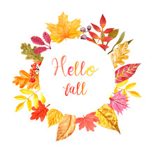 Festive Autumn Wreath. Hand Painted Round Border With Orange, Yellow And Red Leaves, Isolated On White Background. Colorful Fall Leaf Decor. Thanksgiving Day Banner.