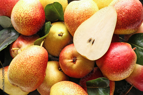 Many sweet ripe pears as background Canvas Print