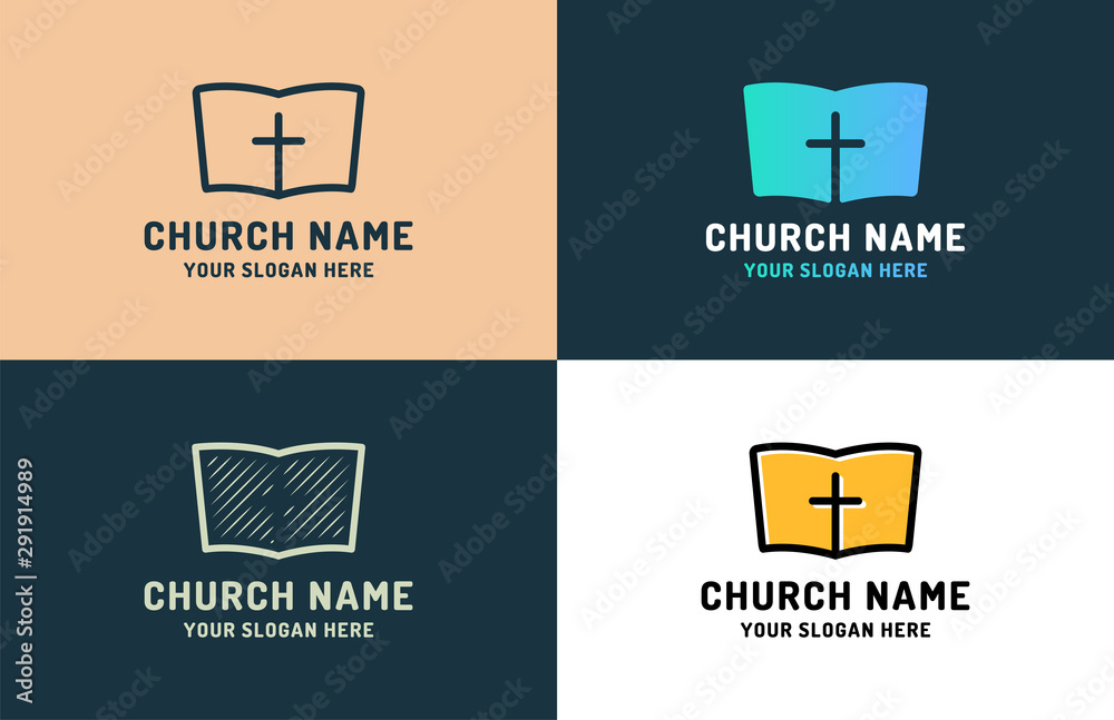 Fototapety, obrazy: Logo for religious community. Holy Bible icon with the cross. Design element for poster, banner, card, emblem, sign, label. Vector illustration