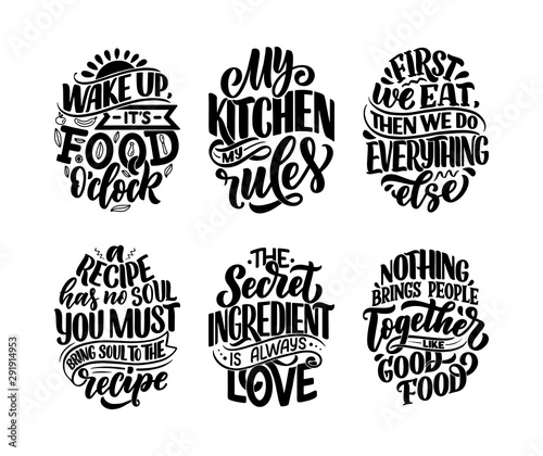 Set with vector quotes in hand drawn unique typography style, elements for greeting cards, decoration, prints and posters Wallpaper Mural