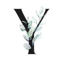 Letter Y, Floral Alphabet With...