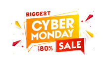 Biggest Sale Banner Or Poster Design With 80% Discount Offer For Cyber Monday.