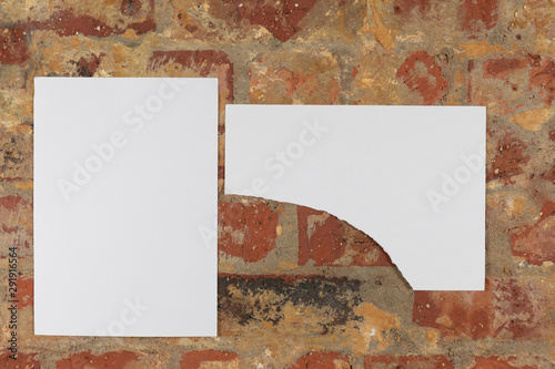 Poster Historisch geb. Blank pictures on a brick wall