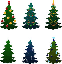 Set Of Christmas Trees. Beads And Garlands, Toys And Stars. Multi-colored Balls And Figures. Decor For The Party. Design For Posters, Banners, Flyers.