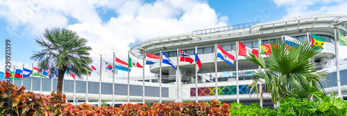 Miami airport building with flags of different countries Canvas Print