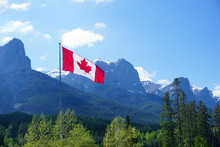 Rocky Mountains At Canmore, Alberta, Canada, Canadien Flag, Nordic Centre