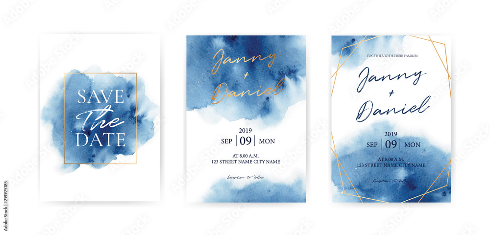 Wedding Invitation cards Navy blue Watercolor style collection design, Watercolor Texture Background, brochure, invitation template. Business identity style. Invite Vector.
