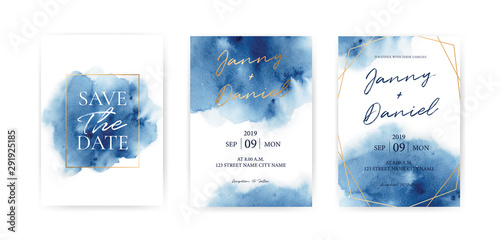 Wedding Invitation cards Navy blue Watercolor style collection design, Watercolor Texture Background, brochure, invitation template Wallpaper Mural