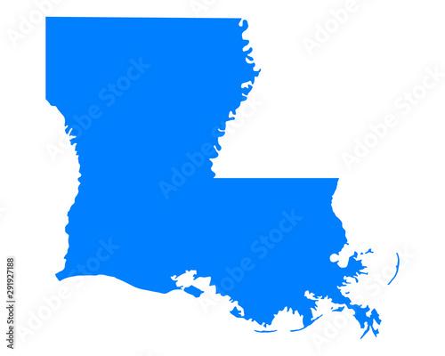 Karte von Louisiana Canvas Print