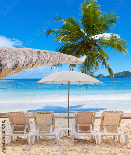 beach with chairs and umbrellas, Seychelles Islands