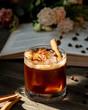 Whiskey with cinnamon on the table