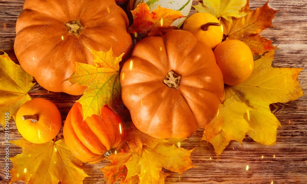 Fototapety, obrazy: Harvest, season, advertisement and autumn concept - close up of pumpkins and leaves on wooden table at home