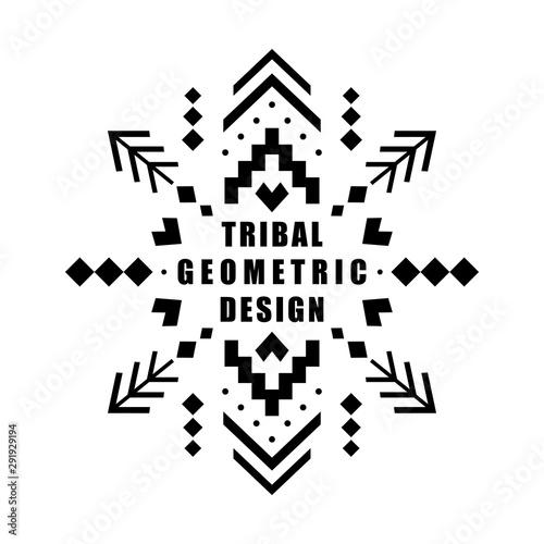 Foto auf AluDibond Boho-Stil Aztec vector element, ethnic ornament. Tribal design, geometric symbol for border, frame, tattoo, logo, card, decorative works. Navajo motif, isolated on white background.