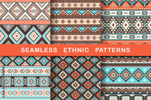 Türaufkleber Künstlich Ethnic seamless patterns. Set of aztec geometric backgrounds. Collection of stylish navajo fabric. Tribal modern abstract vector illustration.