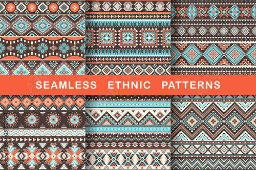 Obraz na plátně Ethnic seamless patterns