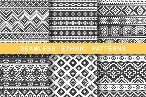 Fototapeten Künstlich Ethnic seamless patterns.