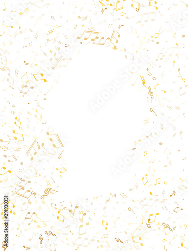 Futuristic music studio background. Gold metallic melody sound notes. Wall mural
