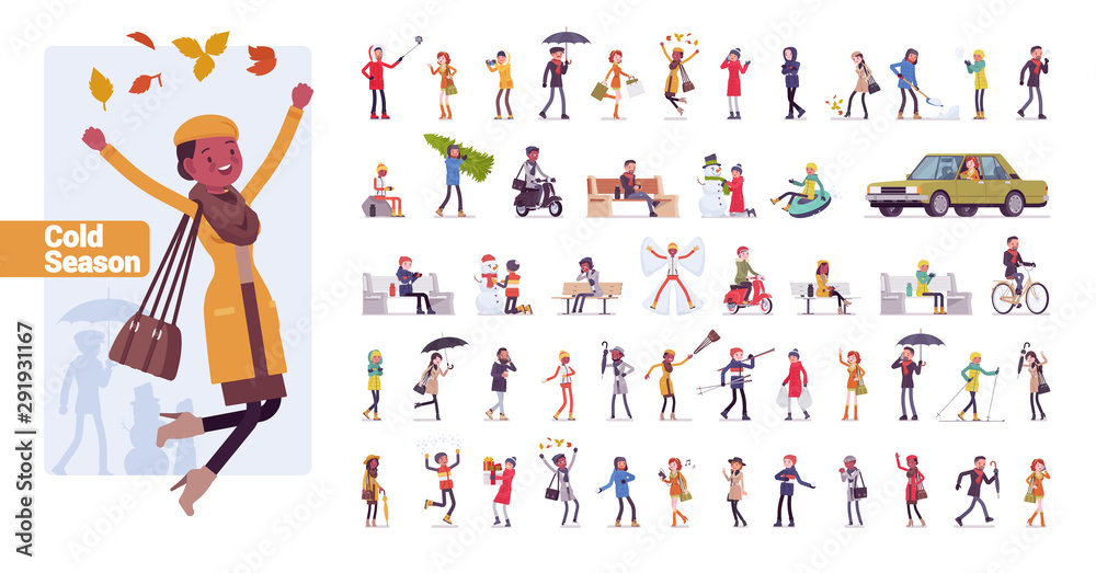 Fototapeta Young folks big bundle character set. Active people of nice appearance wearing modern clothing enjoying youth life in sport and music. Vector flat style cartoon illustration isolated, white background