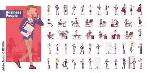 Business people big bundle character set. Businessmen and businesswomen employed in company, working in office, white collar jobs. Vector flat style cartoon illustration isolated on white background - 291931140