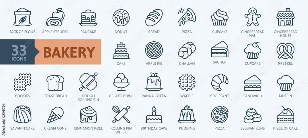 Fototapeta Bakery shop elements - minimal thin line web icon set. Outline icons collection. Simple vector illustration.