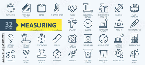 Fotomural  Measuring, measure elements - minimal thin line web icon set
