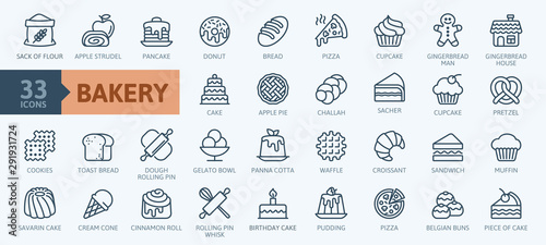 Fototapeta Bakery shop elements - minimal thin line web icon set. Outline icons collection. Simple vector illustration. obraz