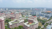 Aerial 4k Footage Of Public Housing Apartments Of Singapore With Singapore Skyline In Front Of A Nature Park In Singapore