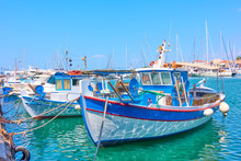 Port Of Aegina And Old Fishing Boats