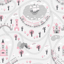 Kingdom Seamless Pattern In Gray Pink Tones. Children's Vector Illustration In Scandinavian Style With A Railway And A Train, Sea, Ship, Princess Castle. Ideal For Baby Textiles
