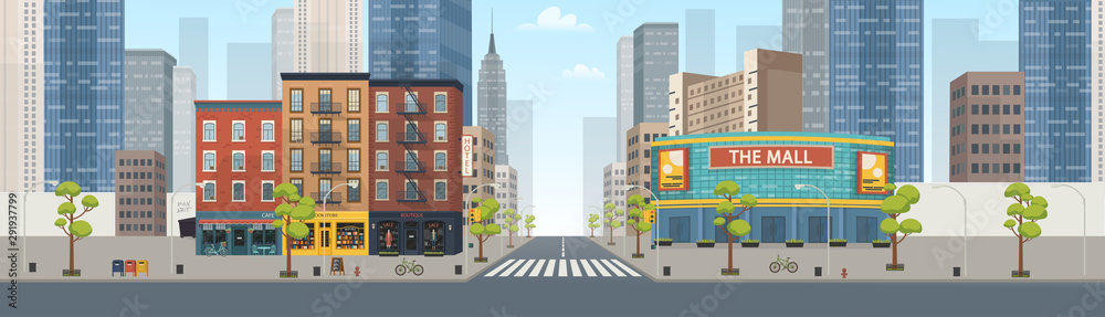 Fototapeta Panorama city building houses with shops: boutique, cafe, bookstore, mall .Vector illustration in flat style.