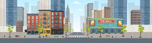Panorama City Building Houses With Shops: Boutique, Cafe, Bookstore, Mall .Vector Illustration In Flat Style.