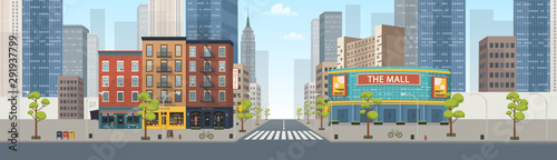 Photo sur Aluminium Cartoon voitures Panorama city building houses with shops: boutique, cafe, bookstore, mall .Vector illustration in flat style.