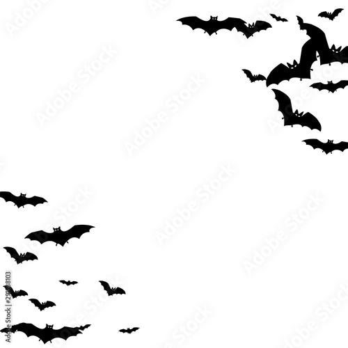 Obraz na plátně  Alar black bats group isolated on white vector Halloween background